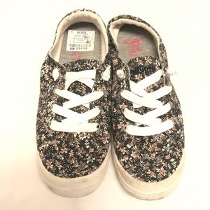 Jelly pop lace up shoes 9 flower pattern